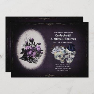 Gothic Wedding Vintage Floral Purple Skulls Invitation
