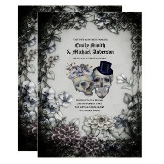 Gothic Wedding Vintage Watercolor Flowers Skulls Invitation