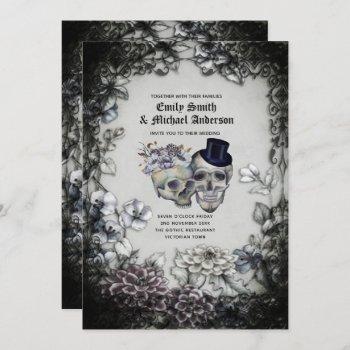 Gothic Wedding Vintage Watercolor Flowers Skulls Invitation