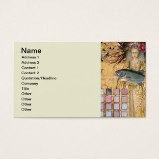 Gothic Whimsical Pisces Woman Renaissance fishing Business Card