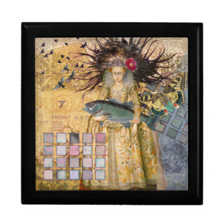 Gothic Whimsical Pisces Woman Renaissance fishing Jewelry Box