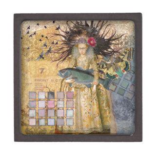 Gothic Whimsical Pisces Woman Renaissance fishing Keepsake Box