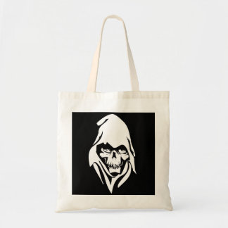 Gothic White Reaper face on black background Tote Bag