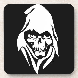 Gothic White Reaper face on black background Beverage Coaster