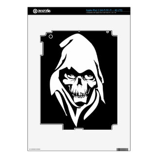 Gothic White Reaper face on black background Decal For iPad 3