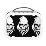 Gothic White Reaper face on black background Lunchboxes