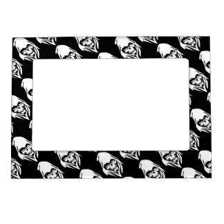 Gothic White Reaper face on black background Magnetic Photo Frame