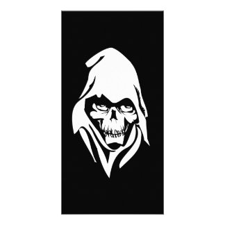 Gothic White Reaper face on black background Personalized Photo Card