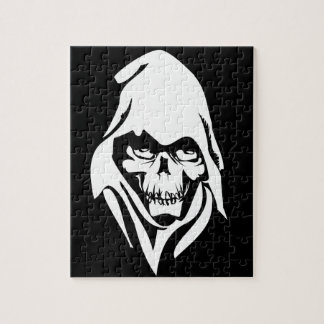 Gothic White Reaper face on black background Jigsaw Puzzle