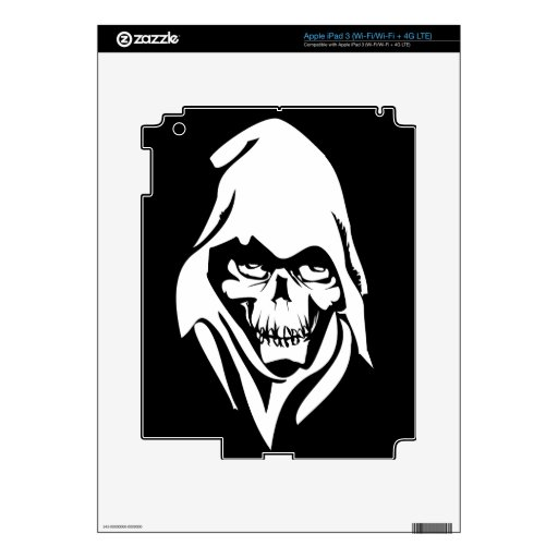 Gothic White Reaper face on black background iPad 3 Decals