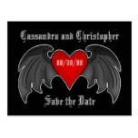 Gothic winged heart save the date postcard