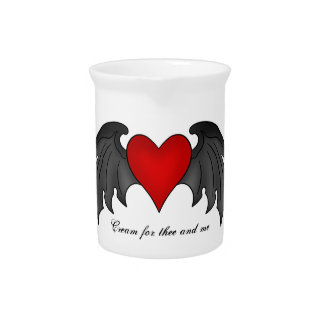 Gothic winged heart Valentines Day Drink Pitcher