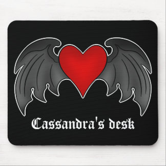 Gothic winged heart Valentines Day Mouse Pad