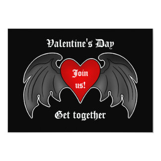 Gothic winged heart Valentines Day party Card