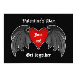 Gothic winged heart Valentines Day party 5x7 Paper Invitation Card