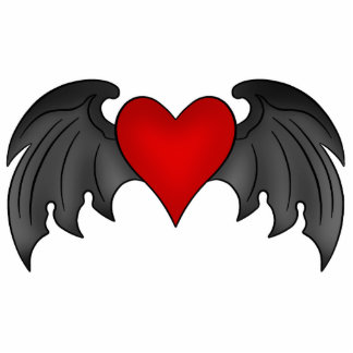 Gothic winged heart Valentines Day Photo Sculpture