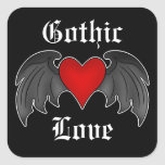 Gothic winged heart Valentines Day Square Sticker