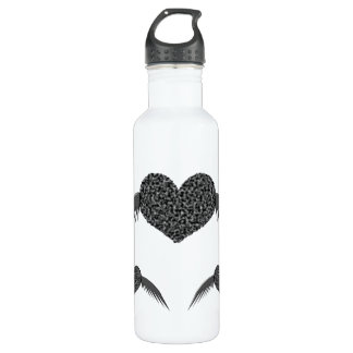 Gothic Winged Love Heart Stainless Steel Water Bottle