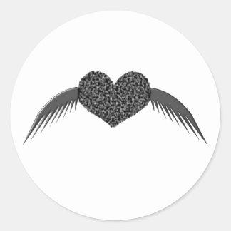 Gothic Winged Love Heart Sticker