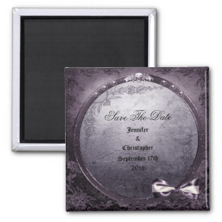 Gothic Winged Skull Purple Save The Date Wedding Refrigerator Magnet