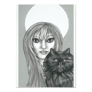 Gothic Witch and Black Cat Halloween Invitations