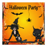 Gothic Witch, Cat & Spider Halloween Party Invites