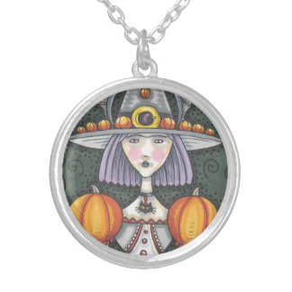Gothic Witch Med Silver Plated Round Necklace