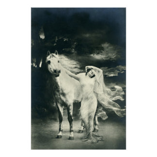 Gothic woman with white horse poster