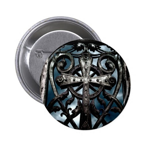Gothic wrought iron celtic cross button