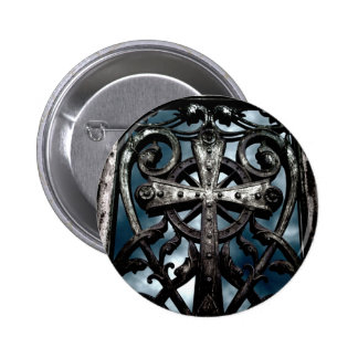 Gothic wrought iron celtic cross pinback button