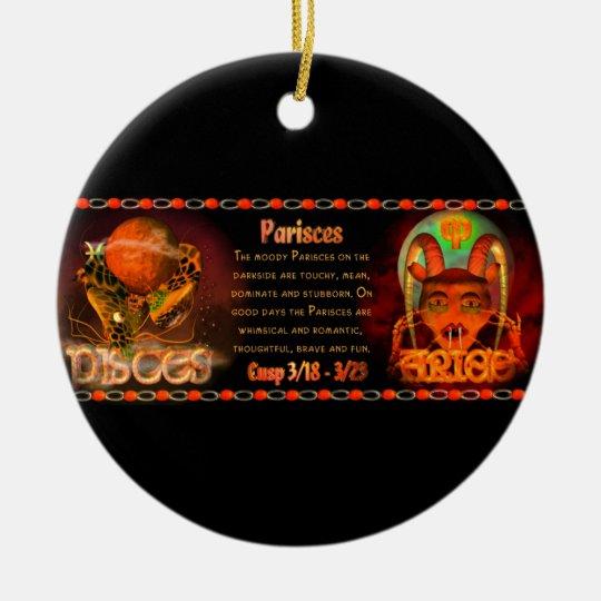 Gothic zodiac Pisces Aries cusp Ceramic Ornament