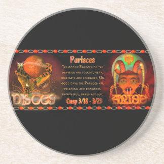Gothic zodiac Pisces Aries cusp Coaster