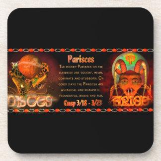 Gothic zodiac Pisces Aries cusp Coasters