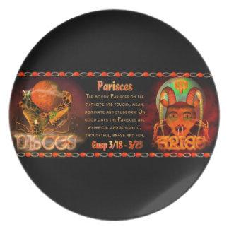 Gothic zodiac Pisces Aries cusp Plate