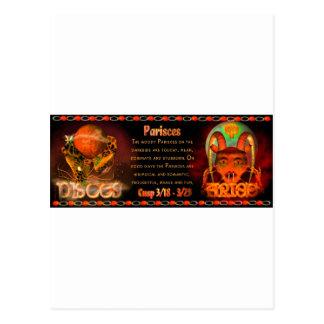 Gothic zodiac Pisces Aries cusp Postcard