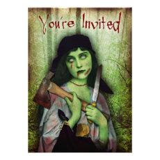 Gothic Zombie Girl Halloween Horror Custom Invite