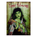 Gothic Zombie Girl Halloween Horror Greeting Card