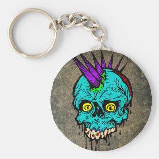 Gothic Zombie Punk Skull Basic Round Button Keychain