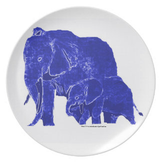 Gothicchicz  Blue Elephants Plate