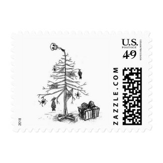 Gothy Christmas Tree Postage Stamps