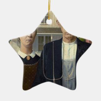 Gótico americano por la madera de Grant DeVolson Adorno Navideño De Cerámica En Forma De Estrella