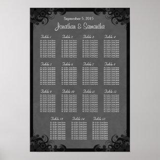Gótico carta del asiento 15 de la tabla negra que póster