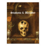 Gótico del boda de Halloween, cráneo, invitación