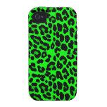 Gótico del punk del estampado leopardo de la verde vibe iPhone 4 carcasas