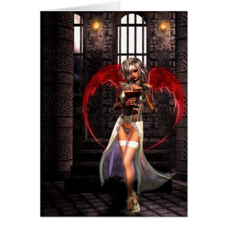Gótico del vampiro del ángel de la sangre tarjeta de felicitación