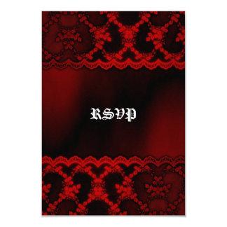 """Gótico rojo del vampiro del cordón que casa las invitación 3.5"""" x 5"""""""