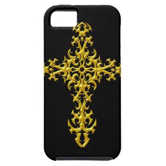 Gotisches Kreuz de los gelbes de Aggressives iPhone 5 Case-Mate Funda