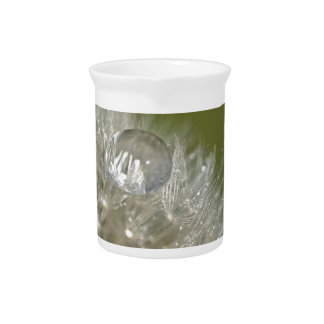 Gotita de agua en un diente de león jarras para bebida