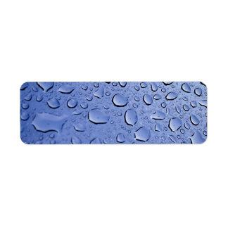 Gotitas de agua azul etiqueta de remitente