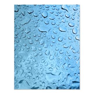 """Gotitas de agua azul invitación 4.25"""" x 5.5"""""""